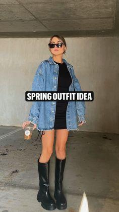 Denim Shirt Outfit Summer, Denim Shirt Outfits, Oversized Denim Jacket Outfit, Jean Jacket Outfits, Edgy Outfits, Denim Fashion, Jeans, Denim Jackets, Jean Jackets
