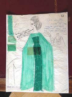 Bozzetto originale di BIKI per l'abito da  concerto indossato da Maria Callas ad  Amburgo il 25 ottobre 1973