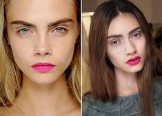 Matte pink lips and minimal makeup
