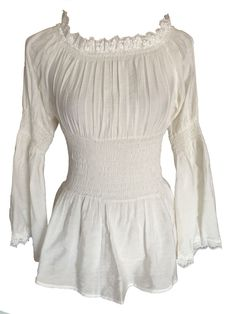 Ivory Romantic Gypsy Peasant Off Shoulder Blouse Top