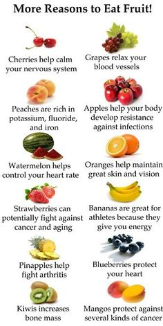 More reasons to eat fruit! Fruits and their benefits. #fruit #health #healthy #fitness