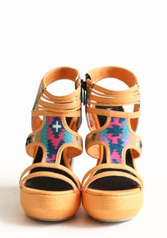 ankle wedges tribal print