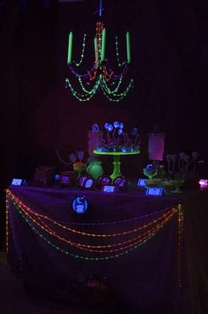 Glow in the Dark Black Light Halloween Party Ideas | Photo 6 of 65 | Catch My Party