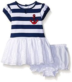 Amazon.com: Pippa & Julie Baby Girls' Nautical Striped and Eyelet Dress: Baby