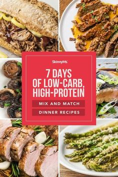 Create delicious low-carb, high-protein dinners with these mix and match dinner recipes! Simply combine a side dish with an entree - it's as easy as that! Healthy Family Meals, Healthy Eating Habits, Healthy Breakfast Recipes, Clean Eating Recipes, Healthy Recipes, Skinny Recipes, Healthy Tips, High Protein Dinner, High Protein Low Carb