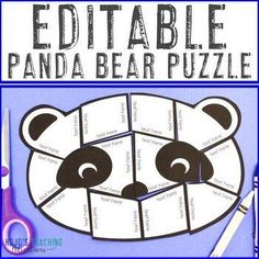 EDITABLE Panda Bear Puzzle for Elementary or Middle School | 1st, 2nd, 3rd, 4th, 5th, 6th, 7th, 8th grade, Activities, English Language Arts, Fun Stuff, Games, Homeschool, Math