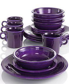 Fiesta Dinnerware, 16 Piece Set - Casual Dinnerware - Dining & Entertaining - Macy's from Macy's. Purple Kitchen Decor, Purple Kitchen Accessories, Purple Love, All Things Purple, Purple Stuff, Purple Furniture, Casual Dinnerware, Purple Dinnerware, Dinnerware Sets