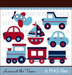 Transportation Car Airplane Truck Sailboat Train Clip Art for Personal Use Make your own stickers, toppers, party favors