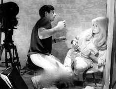 Roman Polanski and Catherine Deneuve on-set of Repulsion Roman Polanski, Catherine Deneuve, Francois Truffaut, Cherbourg, Easy Rider, French Films, Scene Photo, Historical Pictures, Film Director