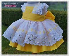 Baby Girls Spanish Knitted Lemon Dress Bloomers Hat