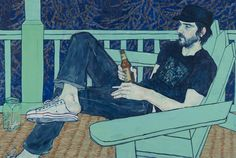"""Hope Gangloff - Land's End (Vic Masnyj), 2011. Acrylic on canvas, 54"""" by 81"""" / 56"""" by 83"""" by 2 1/2""""."""