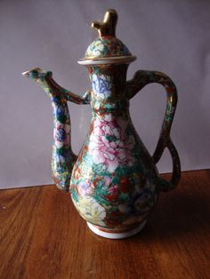 """9"""" Chinese Floral Teapot."""