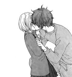 Manga Couple When am I gonna get my first kiss this is adorable ☺️ Couple Amour Anime, Couple Manga, Anime Love Couple, Cute Anime Couples, Cosplay Anime, Manga Anime, Anime Guys, Anime Bisou, Manga Romance