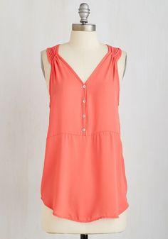 Presh Professional Top in Coral. Highlight your aptitude in office elegance with this bright coral top! #coral #modcloth