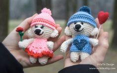 2 Stuffed Bears Amigurumi in Love unique crochet Teddy by MileTa
