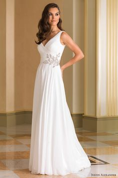 justin alexander bridal fall 2016 sleeveless surplice vneck aline ruched bodice wedding dress (8863) mv beaded waist