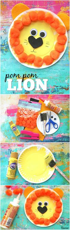 This pom pom paper plate lion craft is a roaring good time! We hope this simple and kid friendly craft idea gets you crafting with your child today.