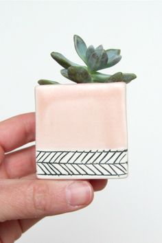 Handmade Herringbone Planter | ebenotti on Etsy