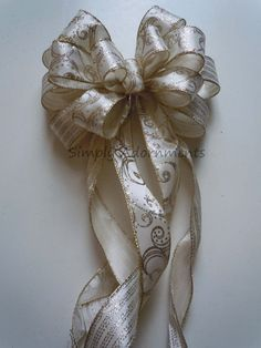 Filigree Gold Ivory Wedding Church Pew Bow by SimplyAdornmentsss,