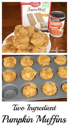 Pumpkin Muffins - TWO ingredients!  Yes, this is the cake mix and can of pumpkin recipe.  These two ingredients, and less than 1/2 hour, you have fresh baked, delicious and moist muffins!  Weight Watcher's Recipe - Momcrieff