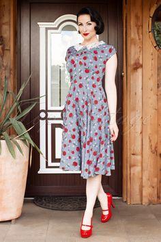 Bunny - 40s Francine Dress in Light Blue