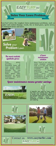 EasyTurf solves the toughest lawn maintenance problems, such as gopher and rodent damage, weeds, dry or dead grass, spotty lawns, pet damaged lawns and more.