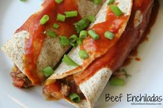 Dinner Tonight: Beef Enchiladas. Add enchilada sauce and cheese soup on top for more sauce