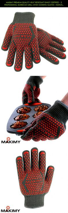 Makimy Premium Quality Heat Resistant EN407 Certified - 2 Professional Barbecue-Grill-Oven Cooking Gloves + Bonus 50 BBQ Recipes - Size M #gadgets #drone #tech #shopping #plans #camera #fpv #products #outdoor #technology #cooking #parts #kit #racing #gloves