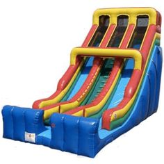 24' Commercial Double Lane Inflatable Slide - Primary Colors