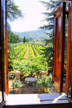 View from Casale Sonnino Villa window in the Alban Hills of Italy