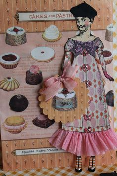 Paper Doll created with stamps from Paris Flea (dress from Cirque) collection by Character Constructions.