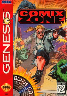 Comix Zone -  beat 'em up video game developed and published by Sega for Sega Genesis. An unusual feature of the game is that it is set within the panels of a comic book with dialogue rendered within talk bubbles and sprites and backgrounds possessing the bright colours and dynamic drawing style favoured by superhero comics.