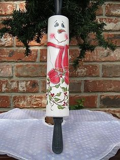 Painted Rolling Pin Patterns | Snowman rolling pin, painted