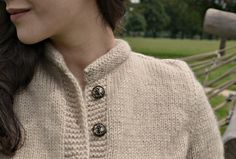...sweet details!    Cafe au lait  knitted jacket with anchor buttons  by LePetitKnit