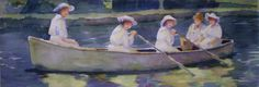 On the River 1915, Original Watercolor, Louise O'Donnell