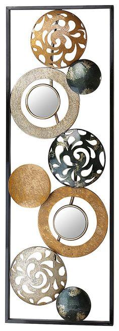 Artikeldetails: Modernes und dekoratives Wandbild, Kreise und Ringe in den Farben gold und silber, Zum Aufhängen an der Wand, Maße: Maße (B/T/H): 90/31/4 cm, Material/Qualität: Aus Metall, ...