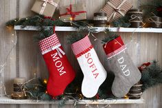 Items similar to family christmas stockings, personalized christmas stockings, christmas stockings handmade , personalized christmas sack-christmas stocking on Etsy Family Christmas Stockings, Kids Stockings, Personalized Stockings, 17 Day, Linen Fabric, Mom And Dad, Simple Designs, Red And White, Burlap