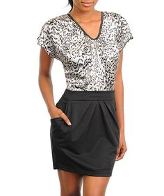 Take a look at this Black & Gray Animal Dress by Buy in America on #zulily today!