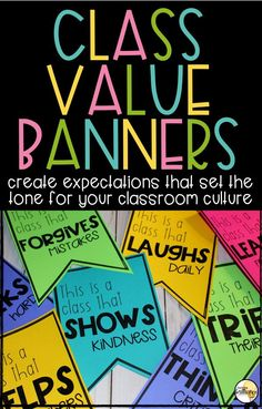 Setting clear classroom expectations and guidelines is an integral part of creating a positive classroom culture. By setting expectations, rather than rules, teachers can create a culture that fosters students internalization of positive relationships, actions, and attitudes. These banners are simply a way to display the expectations that teachers and students decide are an imperative part of their classroom culture.