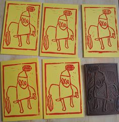 Love this cute idea on babyccinokids.com for lino printing cards from a child's drawing. Been meaning to the exact same thing for years!