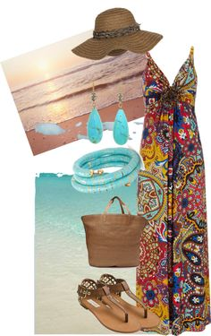 """Floral Beach"" by rpoppe on Polyvore"
