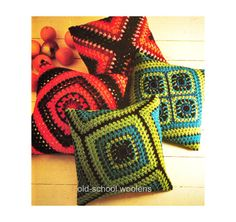 Granny Square Pillow Crochet Pattern Reproduction by oldschoolwoolens