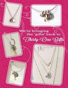 Customizable jk jewelry collection.  Www.mythirtyone.com/634663