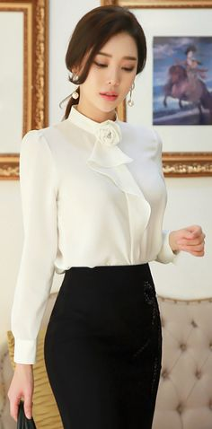 StyleOnme_Feminine Rose Corsage Blouse #white #ivory #rose #flower #blouse #elegant #feminine #koreanfashion #kstyle #seoul #kfashion