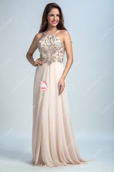 Slender Halter Beaded Sweet Cute Champagne Chiffon Prom Dress Champagne  Dress 8458d7b9717b