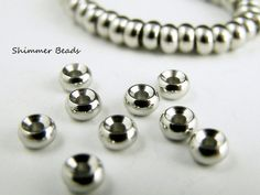 Brass Silver Plated Platinum-Rondelle - Spacer Beads 5/3mm Hole 1.5mm (50) #Unbranded #Boheiman