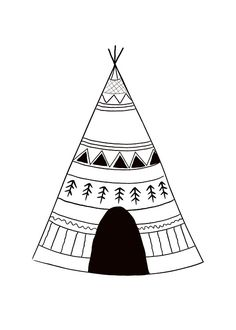 Kids poster with indian tent, black and white