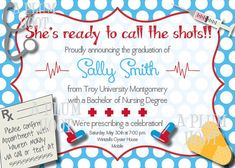 Medical or Nursing School Graduation Party Invitation by APlumHoot, $12.00