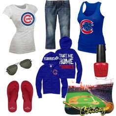 Outfit - Chicago Cubs - Chic Fashion Pins : The Cutest Pins Around! Chicago Cubs Fans, Chicago Cubs Baseball, Espn Baseball, Tigers Baseball, Chicago Bears, Cubs Gear, Sport Outfits, Cute Outfits, Cubs Games