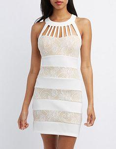 Caged Yoke Bodycon Dress: Charlotte Russe